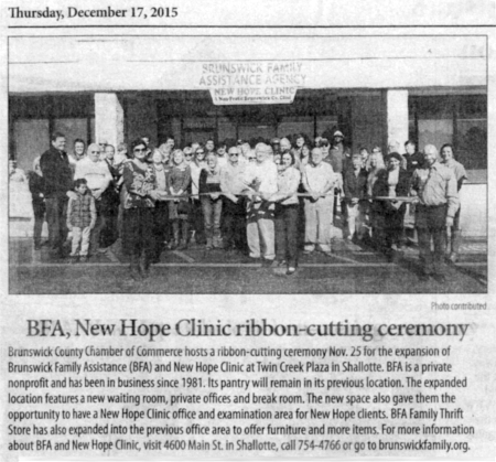 BFA, New Hope Clinic Ribbon Cutting