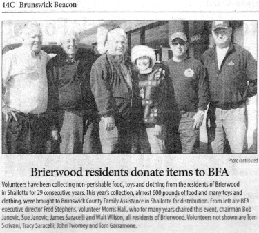 Brierwood Residents donate items to BFA