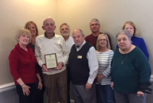 Plaque presented to BCAR President Ben Styer; CEO Cynthia Walsh, and Sue Hildebrandt by BFA Board members Bill Hadesty, Chairman; Steve Long, Vice Chairman; Sue Brandon, Secretary; Tom Rieber, at large; and members Jayne Mathews and Karla Squire